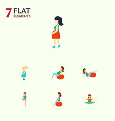 flat icon pregnant set of lady pose meditation vector image vector image