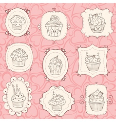 frames cupcakes vector image vector image