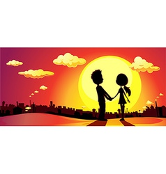 lovers silhouette in sunset - vector image vector image