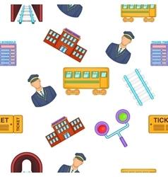 Railway transport pattern cartoon style vector