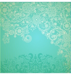 Vintage blue background with doodle flowers vector image vector image