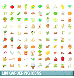 100 gardering icons set cartoon style vector image