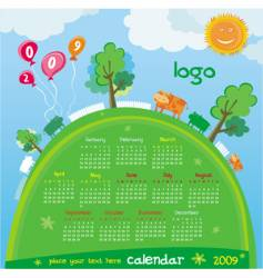 2009 calendar with cute cows vector image