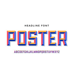 3d modern font colorful modern alphabet and vector