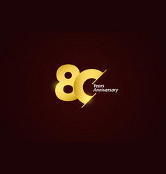 80 years anniversary celebration gold logo vector