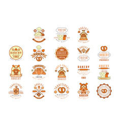 bakery fresh bread logo design vintage bakery vector image