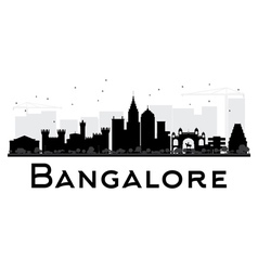 Bangalore city skyline black and white silhouette vector