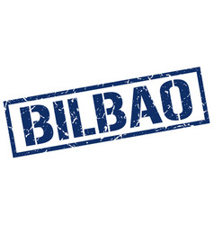 bilbao blue square stamp vector image