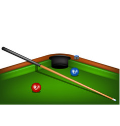 billiard table with billiard cue chalk and balls vector image