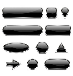 Black 3d icons glass shiny buttons vector