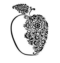 Black and white apple decorated floral pattern vector