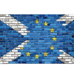 Brick Wall European Union and Scotland flags vector image