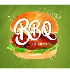 Burger BBQ green vector image