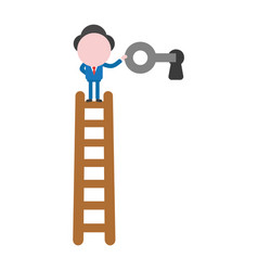 Businessman character standing on top of wooden vector