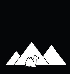Camel with pyramid vector