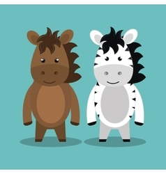 Cartoon animal zebra horse plush stuffed design vector