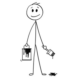 cartoon of smiling businessman with brush and vector image