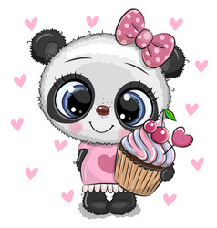 Cartoon panda with cupcake on a hearts background vector