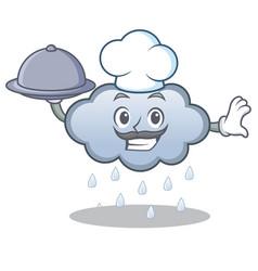Chef with food rain cloud character cartoon vector
