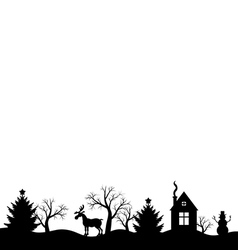 Christmas landscape black vector