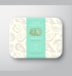 Coconut bath cosmetics package box abstract vector