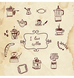 Coffee and pastry sketchy design elements vector image