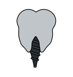 color image cartoon dental implant icon vector image