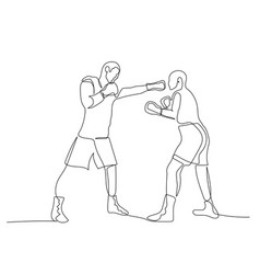 Continuous one line boxing sparring boxer strikes vector