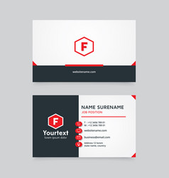 creative business card with red and black color vector image
