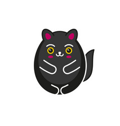 cute cartoon kawaii black cat on white background vector image