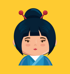 Cute japanese girl character vector