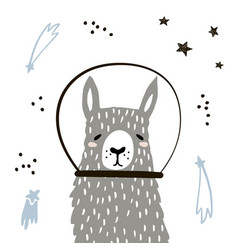 cute llama in space print childish vector image