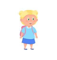 cute smiling blonde hair school girl with green vector image