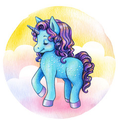 cute watercolor blue unicorn princess vector image