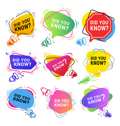Did you know labels color set vector