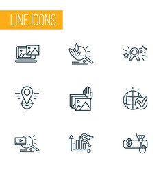 engine icons line style set with pay per click vector image