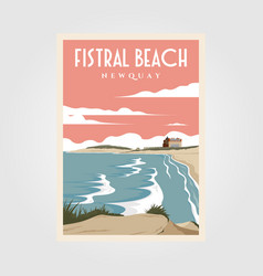 fistral beach vintage poster design beach poster vector image