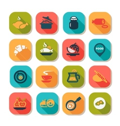 Flat food icon set vector