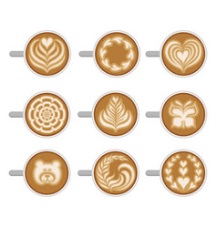 Flat set of coffee cups with different vector
