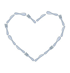 frame spoon fork and knife heart in doodle vector image