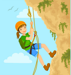 Girl rappelling vector