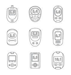 glucose meter sugar test icons set outline style vector image