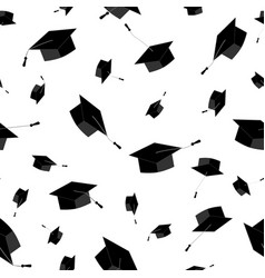 Graduation caps fly in the air seamless pattern vector