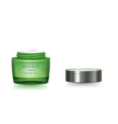 Green glass jar with open lid vector