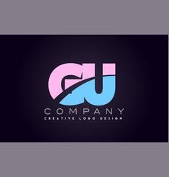 Gu alphabet letter join joined letter logo design vector