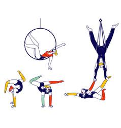gymnast characters performing rhythmic gymnastics vector image