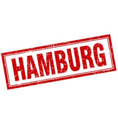 Hamburg red square grunge stamp on white vector