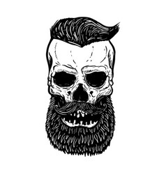 hand drawn bearded skull isolated on white design vector image
