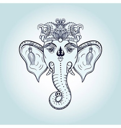 Hand drawn Elephant Head Indian god Lord hindu vector image