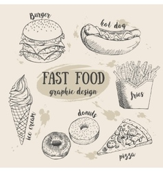 Hand drawn fastfood set Creative vector image